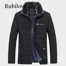 Rubilove 2019 New Style Winter Mens Warm Coat Thick Fleece Fashion Long Jackets Brand Clothing Male Overcoat Fur Collar