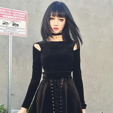 2pcs women Gothic t-shirt dress long sleeve hollow out top and lace up pleated dress sexy punk clothes 2019 punk rock streetwear blue cold shoulder lace up chest pleated t shirts