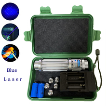 Синяя лазерная указка мощный 450nm 10000 м фокус синий лазерный указатель сжигания Laserpointer спичка свеча зажженная сигарета