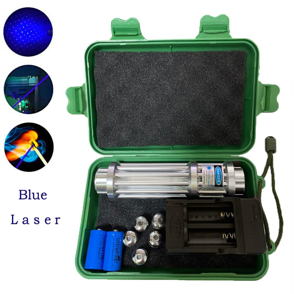 Высокая мощность лазер формата blue-Ray фонарь 450nm 10000 м фокус синий лазерная указка мощная фонарик спичка свеча зажженная сигарета