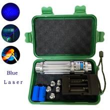 Alta potência azul laser tocha 450nm 10000m focalizável azul laser ponteiros lanterna queimar fósforo vela aceso cigarro