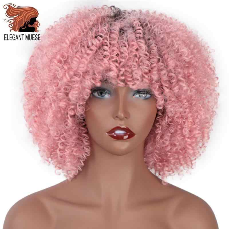 ELEGANT MUSES Short Afro Kinky Curly Synthetic Wigs Ombre Pink Hair for Black Women 10Inches Wigs Natural Black Heat Resistant