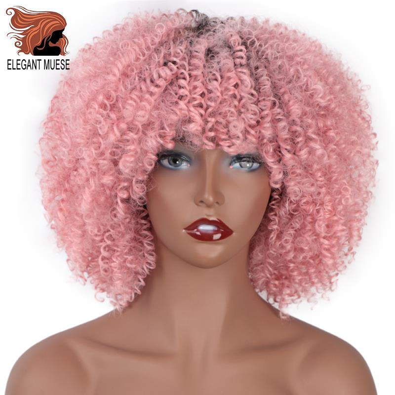 ELEGANT MUSES <font><b>Short</b></font> Afro Kinky Curly Synthetic <font><b>Wigs</b></font> Ombre <font><b>Pink</b></font> Hair for Black Women 10Inches <font><b>Wigs</b></font> Natural Black Heat Resistant image