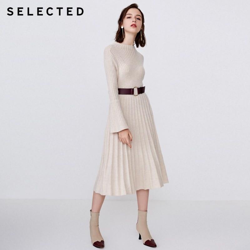 Selected 여성 모직 자카드 니트 중간 길이 드레스 s  418446505-에서드레스부터 여성 의류 의  그룹 1