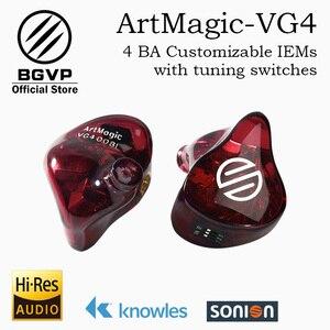 BGVP słuchawki hi-fi ArtMagic VG4 4 zbalansowane armatury konfigurowalne słuchawki douszne monitory interfejs MMCX z kablem HIFI