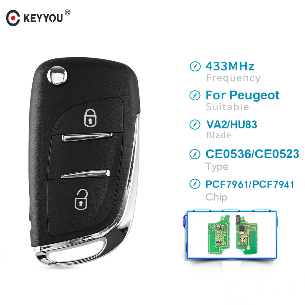 KEYYOU Ce0536 ASK 2 Button <font><b>Remote</b></font> Car <font><b>key</b></font> 433MHZ For Citroen C2 C3 C4 C5 For <font><b>Peugeot</b></font> 207 <font><b>208</b></font> 307 308 408 pcf7961/pcf7941 image