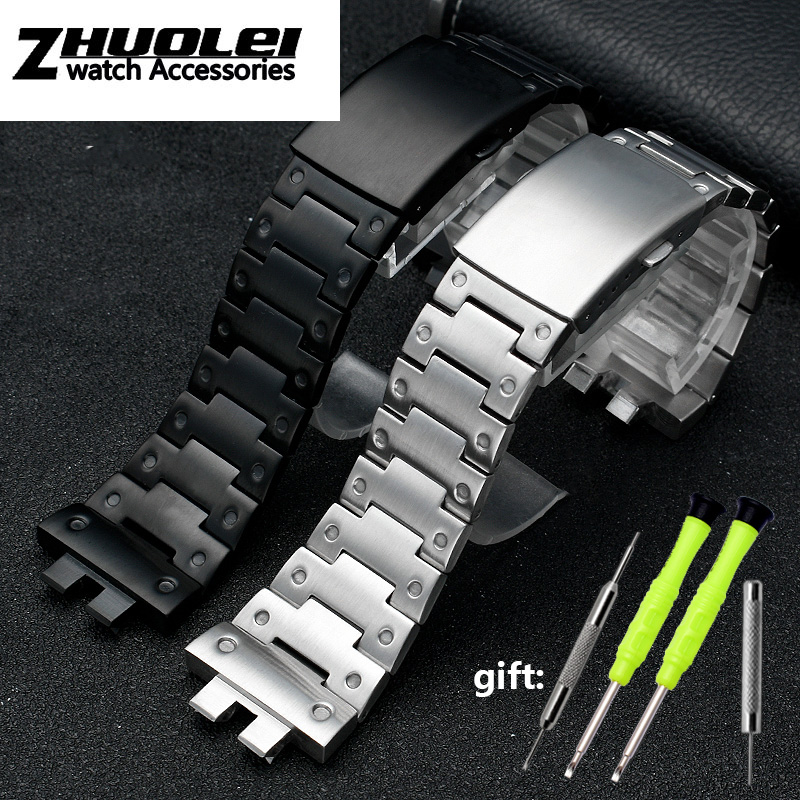 Modification 316L Solid Steel Watchband For C-asio G SHOCK GMW-B5000 Series Men's Stainless Steel Wristband Bracelet