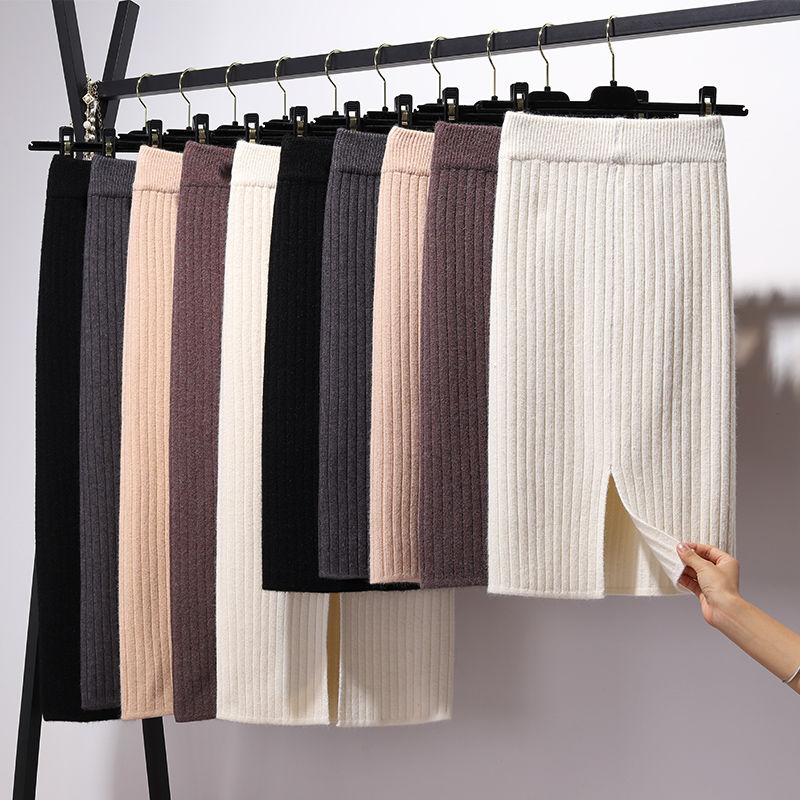 Pencil-Skirts Short Long-Bandage Bodycon Knitted Y2k Stretchable Female Winter Women