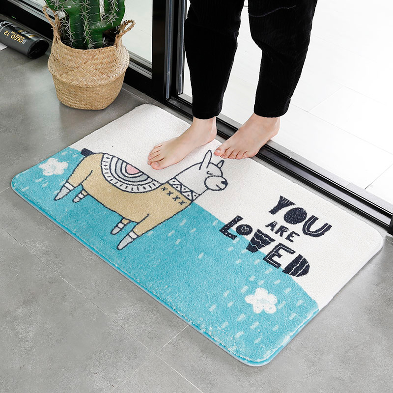 Nordic Bathroom Non-slip Mat Rectangle Child Safety Shower Carpets Cartoon Room Kitchen Anti-slip Pad Home Toilet Bathing Rugs