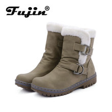 Fujin Women Boots Fur Plush Warm Ankle Buckle Platform Fashion Shoes for Booties Winter Snow
