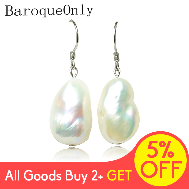 BaroqueOnly 10-16mm Baroque White Pearl Drop Earrings 925 Silver Sterling Classic Fine Jewelry ECF
