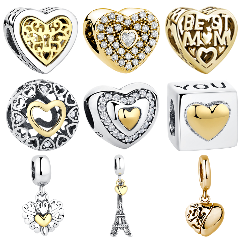 100% Authentic 925 Sterling Silver Hollow Heart Gold Heart Charm Beads Fit Pandora Bracelet Women Fashion Jewelry  Mother Gift