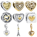 100% Аутентичные 925 стерлингового серебра выбитое сердечко Золотой шарм в форме сердца бусины, соответственные Пандоре обаятельные браслеты ...