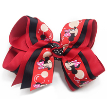 new 5 inch red Mouse Ears Cartoon hair bows Hairpins Girls Hair Clips Bows Accessories For Children red Ribbon Headwear цена