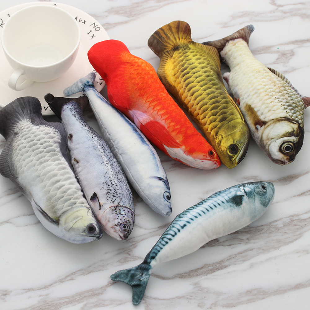 2019 Artificial Fish Plush Pet Cat Toys Dog Puppy Toy Cat Mint Catnip Toys Cute Fish Tank Aquarium Decoration