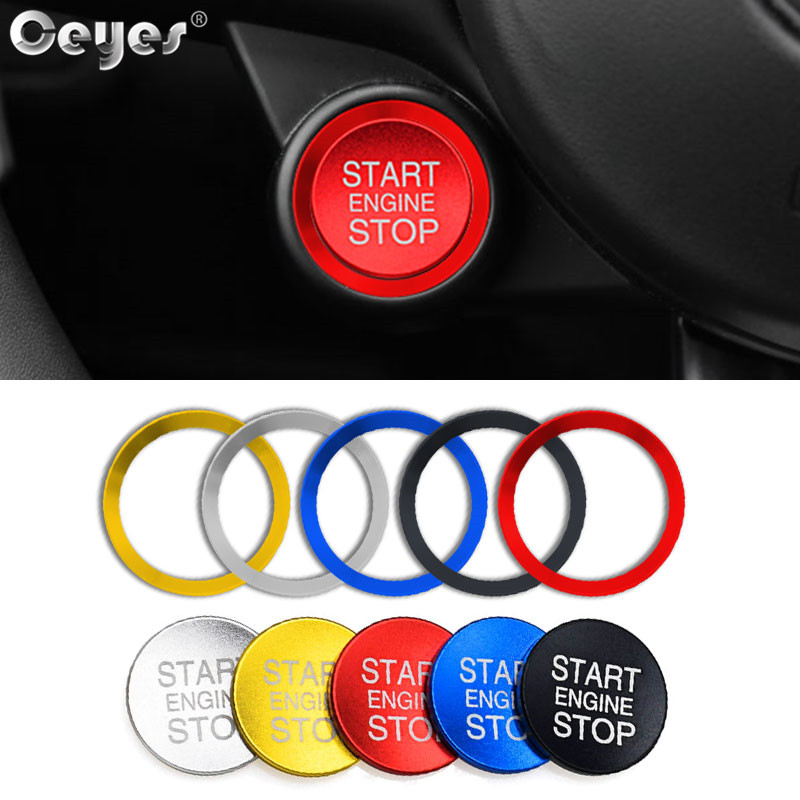 Ceyes, автомобильный стиль, зажигание, пусковое кольцо, кнопка остановки двигателя, аксессуары для интерьера, чехол для Alfa Romeo Mito 147 156, Giulietta, наклейка