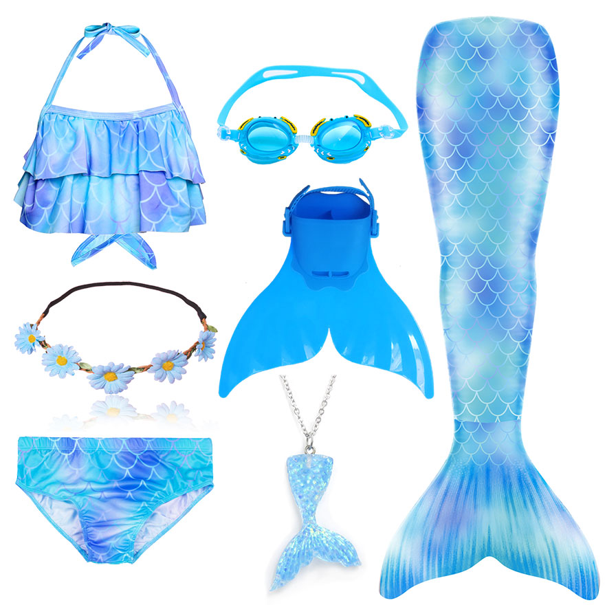 H123dfeb3cc794f3faa79404d8ca6015dB - Kids Swimmable Mermaid Tail for Girls Swimming Bating Suit Mermaid Costume Swimsuit can add Monofin Fin Goggle with Garland
