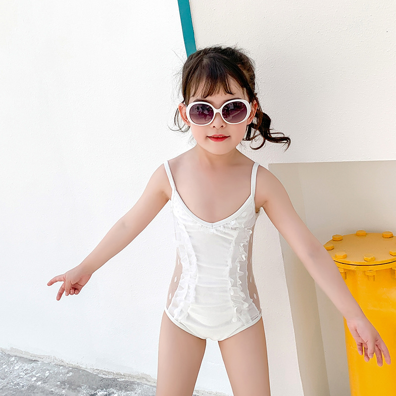 2019 New Style Hot Selling GIRL'S Swimsuit One-piece Lace Hipster Cute Princess Ultra-stretch Quick-Dry Children Swimming