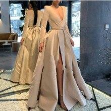 Хаки вечернее платье с длинными рукавами V образным вырезом халат deo soiree longue вечерние халаты с поясом официальное платье сексуальное Skit abiye