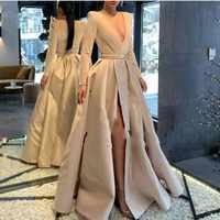 Caqui vestido de noche de manga completa cuello en V bata deo velada longue 2019 vestidos de noche con Sash vestido Formal Sexy sketch abiye