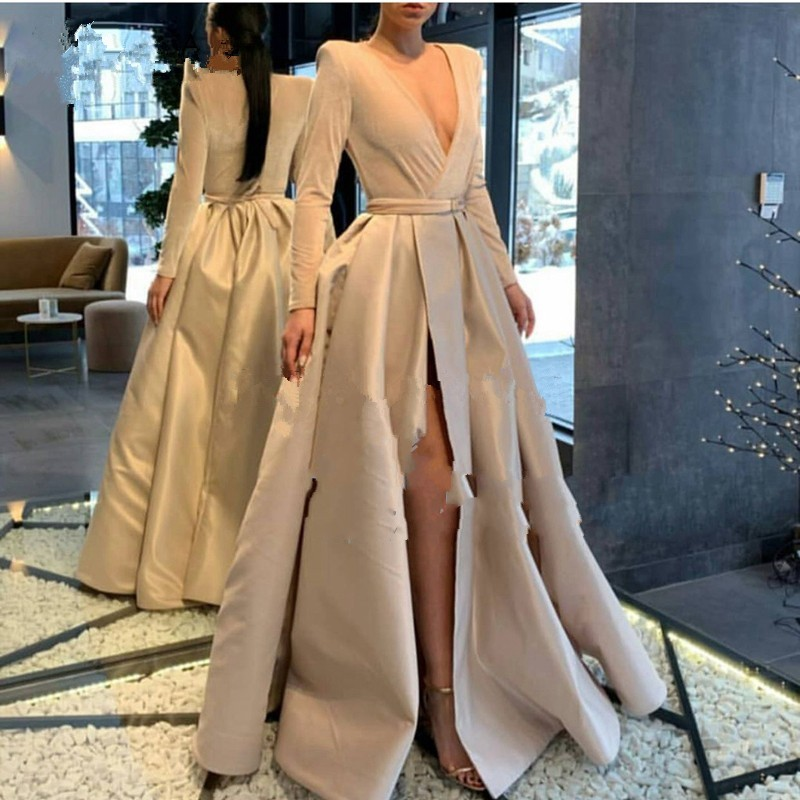 Khaki Evening Dress Full Sleeves V Neck robe deo soiree longue 2019 Evening Gowns With Sash Formal Dress Sexy Skit abiye-in Evening Dresses from Weddings & Events