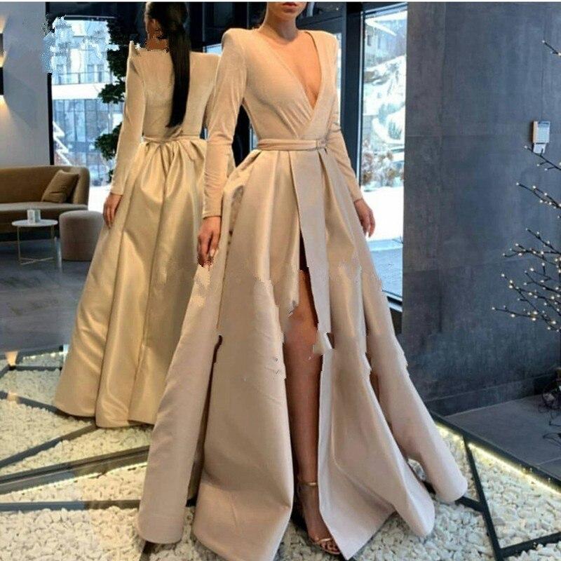 Robe de soirée kaki manches longues col en V robe deo soiree longue 2019 robes de soirée avec ceinture robe formelle Sexy Skit abiye