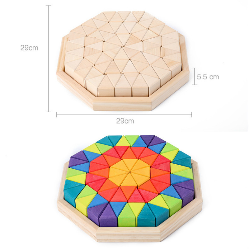 Birch Big Triangle Children Build Toys Boxed Building Blocks 12 Color Stacked Children's Imagination Early Teaching Toys - 6