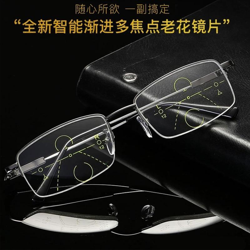 Пресбиопические очки для мужчин двойного назначения анти-синий светильник Автоматический зум прогрессивный мультифокус очки для пожилых ...