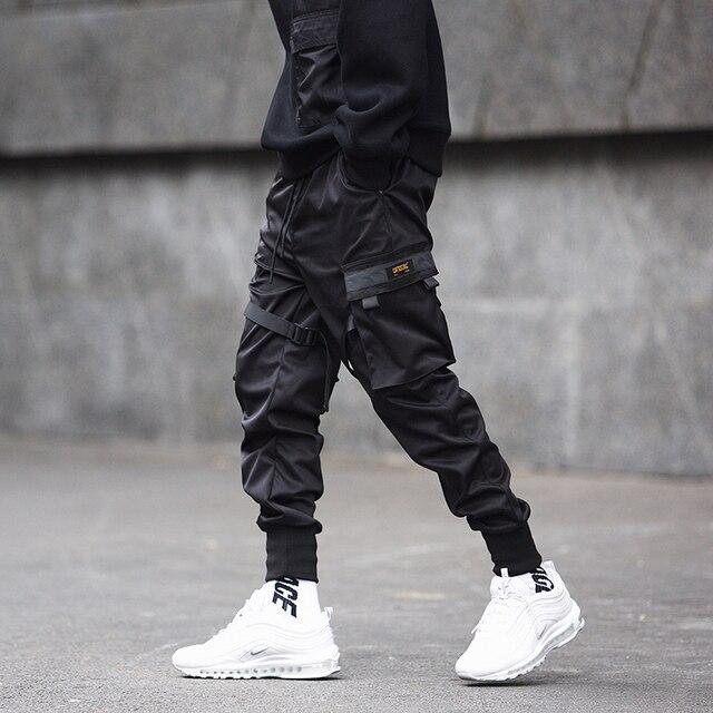 Men Cargo Pants Black Ribbons Block Multi-Pocket 2020 Harem Joggers Harajuku Sweatpant Hip Hop Casual Male Trousers 2