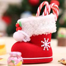 1Pc Christmas Gift Holders Santa Boots Shoe Shape Candy Bags Xmas Christmas Tree Decoration Hanging Ornament Gift Packaging(China)