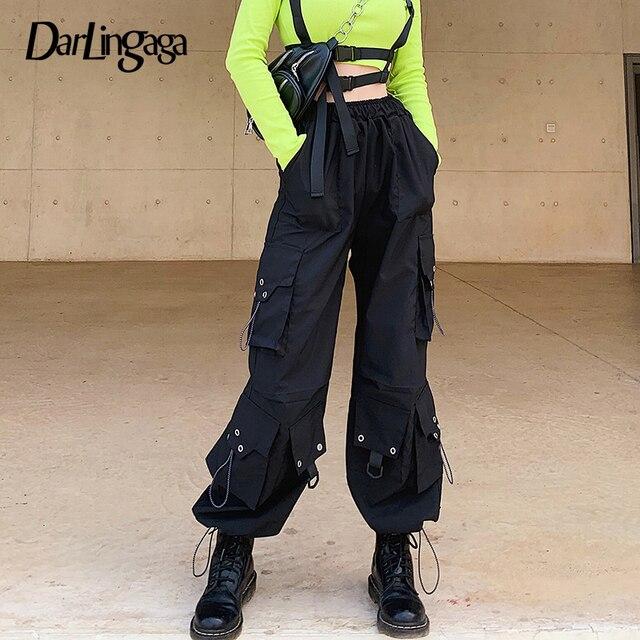 Streetwear Loose Black Cargo Pants  1
