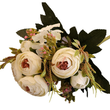 27cm Rose Pink Silk Camellia Artificial Flowers Bouquet 4 Big 2 Small Head Fake for Home Wedding Decoration Indoor