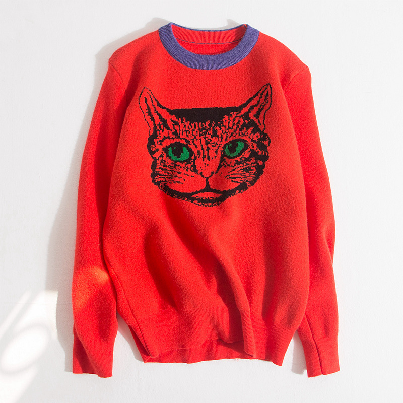 High Quality Runway Designer Cat Print Knitted Sweaters Pullovers Women Autumn Winter Long Sleeve Harajuku Sweet Jumper C-192 7