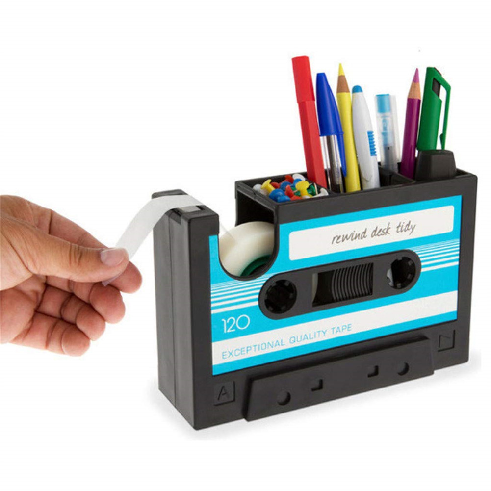New Cassette Tape Dispenser Pen Holder Desk Tidy Container With Adhesive Tape Office Pencil Pot Stationery Storage Container