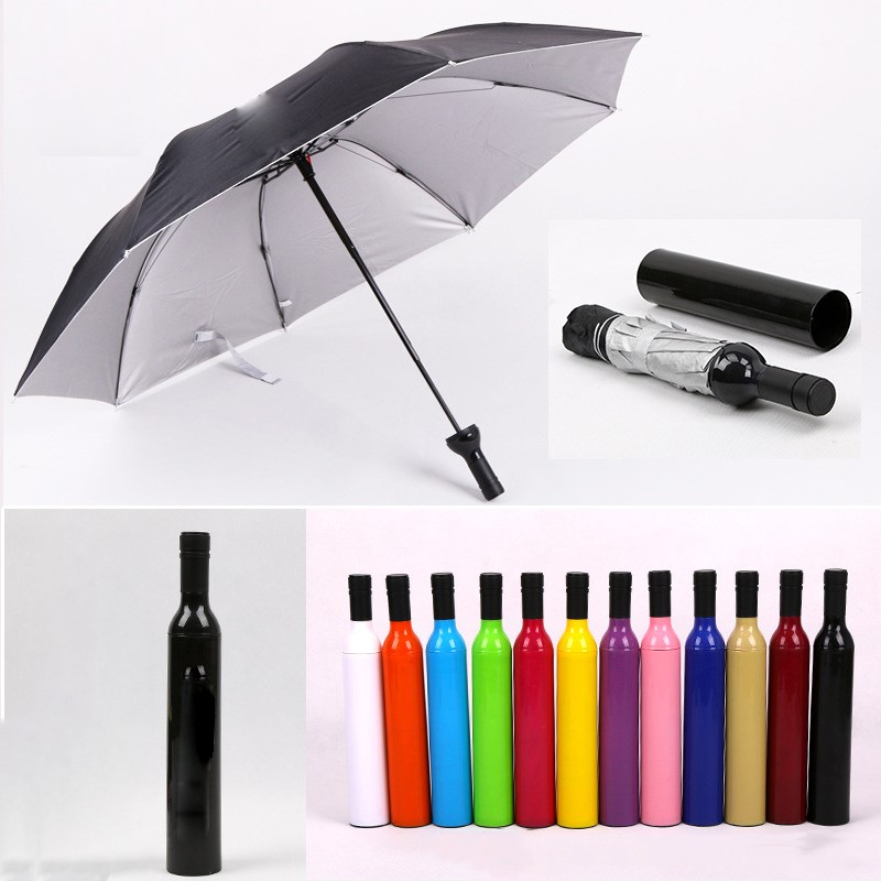 New Wine Bottle Folding Umbrella Sun Rain UV Individuality Manual Umbrella Rain Gear Men and Women Style Mini Umbrella