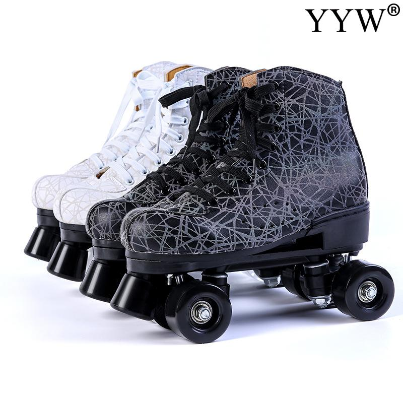 Graffiti Roller Skates Girls Men Flashing Women Pu Leather Adult Quad Skating Sliding Sneakers 4 Wheels Beginner Gym Beginner