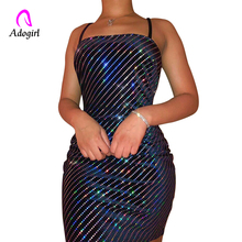 Adogirl Black Shiny Spaghetti Strap Slim Dress Sheer Off Shoulder Women Summer Sleeveless Club Party Sexy Bodycon Outfits