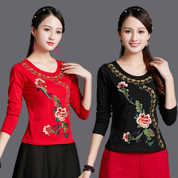 Embroidery Vintage T Shirt Women Black 100% Cotton Basic Tshirt Long sleeves 6XL Plus size Ladies Top Casual black long sleeves rose embroidery pattern cropped top