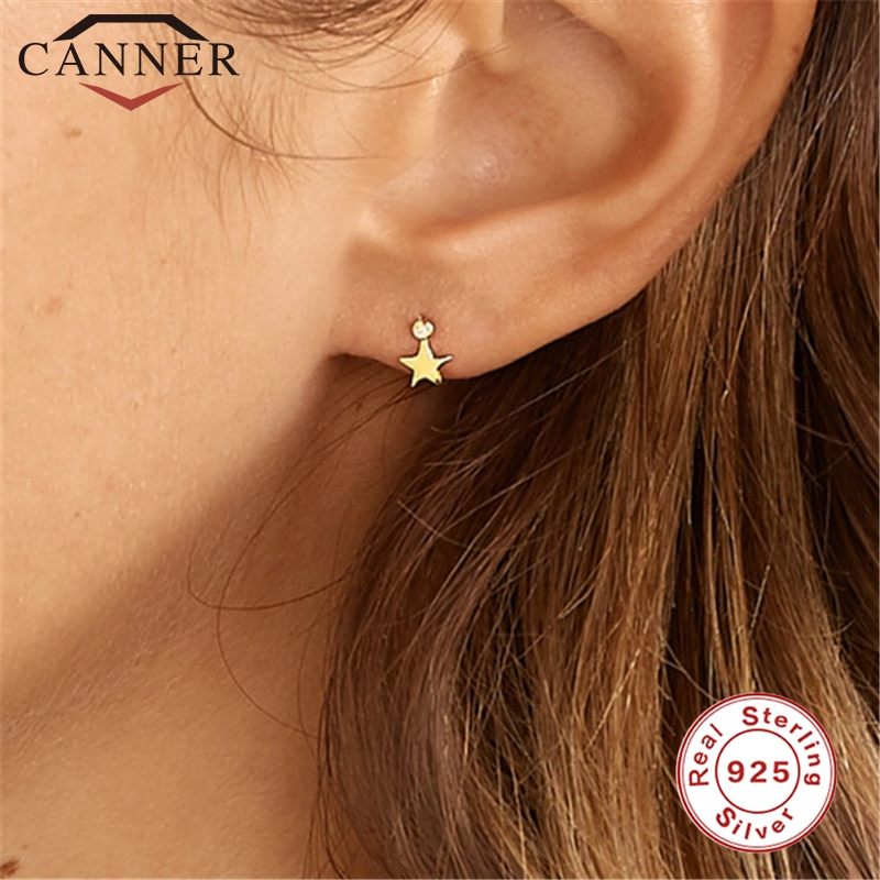 Cute 925 Sterling Silver Five Pointed Star Cz Zircon Stud Earrings For Women Simple Geometric Ins Gold Earrings Fashion Jewelry Special Deal E3d7 Cicig