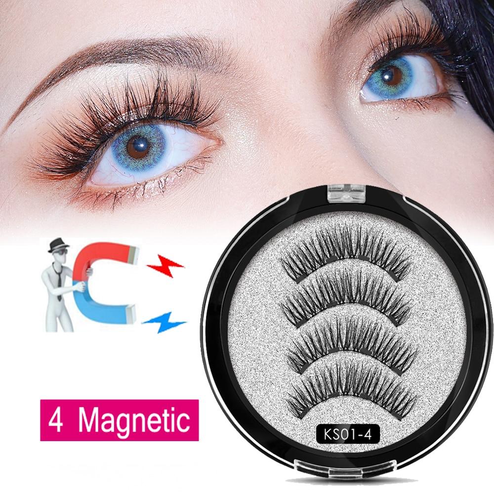 Queen 2019 4 Magnetic Eyelashes Magnetic False Eyelashes 3D/6D  Natural Lengthening Makeup 3 Magnetic Lashes Upper With Gift Box