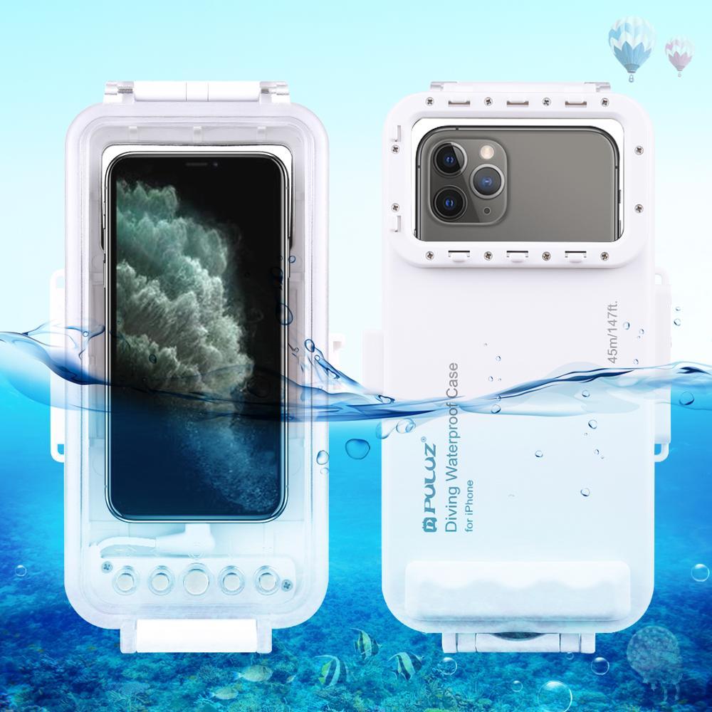 PULUZ 45 m/147ft sous-marin étanche Photo vidéo prise housse de plongée pour iPhone 11/X/XR/iOS 13.0 ou au-dessus de la Version