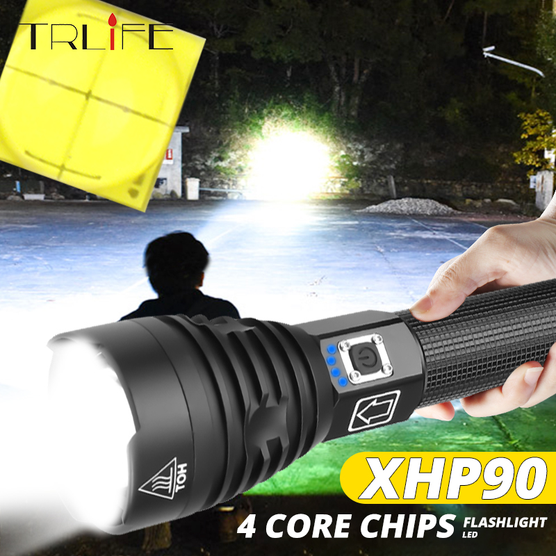 Most Powerful Light XHP90 LED Flashlight USB Zoomable Torch 3 Modes Lamp 18650 26650 Rechargeable Battery For Camping