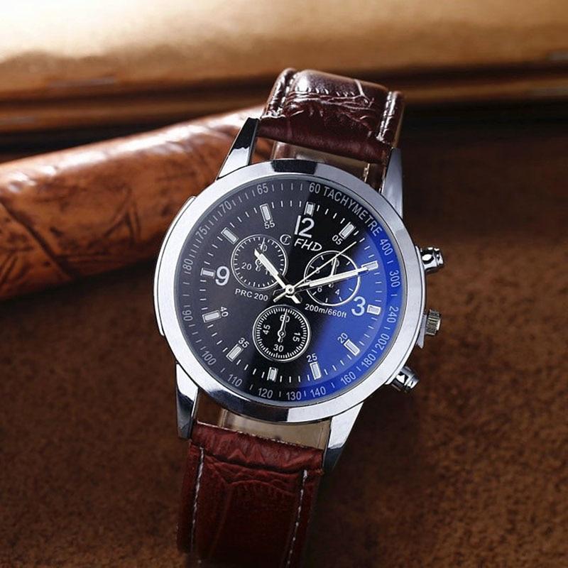 Fashion Men's Sport Quartz Leather Watch Wholesale Blu-ray Glass Three-eye Belt Men's Business Wristwatch Reloj Hombre