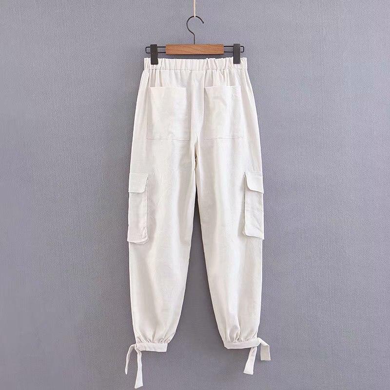 Women Pants Cotton Linen Cargo Female Elastic Waist Pockets Trousers Casual Spring Summer Loose Pants