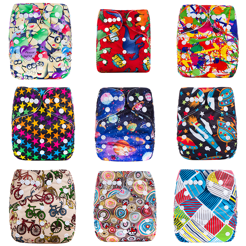 High Quality Washable Eco-Friendly Diaper Adjustable Printed Nappy Reusable Cloth Diapers Fit 3-15kg baby Drop Shipping