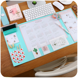 Image 2 - Candy Color Kawaii Multifunctional Pen Holders Writing Pad 2018 2020 Calendar Mat Learning Pad Office Mat Desk Decor Accessories