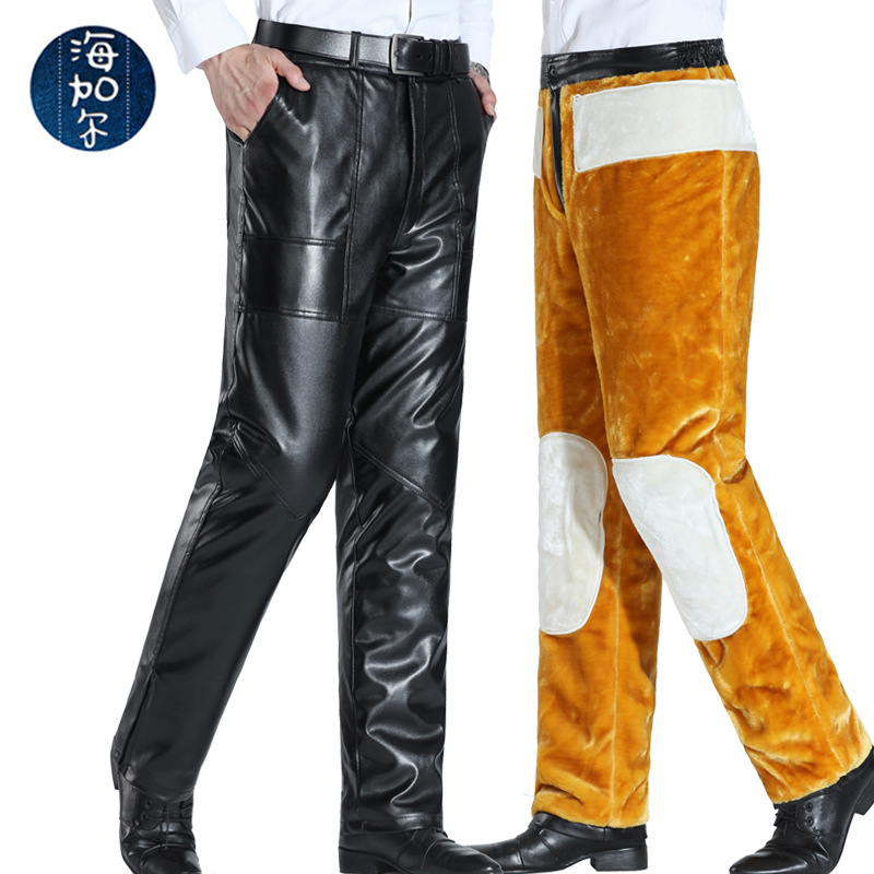 Autumn And Winter New Style Kneecap Waist Support Double Layer Thick Locomotive Leather Pants Men's Golden Fleece PU Leather Pan