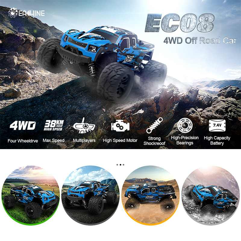 Eachine EC08 RC Car 4WD 1/18 2.4GH 38km/h Super Power High Speed Off-Road Trucks With Differential Toys for Children