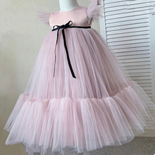 Dress Girl First-Communion-Dresses Wedding Satin-Belt Baptism Pink Kids Crystal Pearls