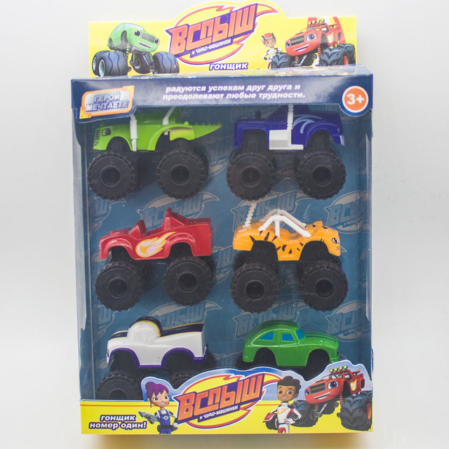 6PCS Lot Monster Machines  Blaze miracle cars blaze Vehicle Car Toys  Russia Kid Toys  With Original Box Best Gifts For Kids